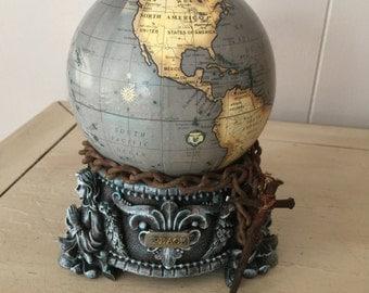 Handmade altered art politcal piece assemblage art world globe