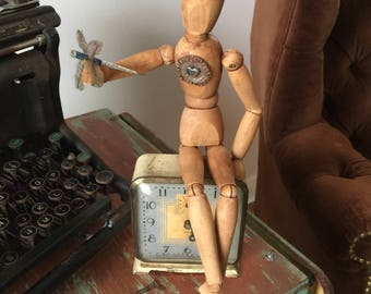 The Daydreamer wood mannequin and vintage alarm clock assemblage art altered doll