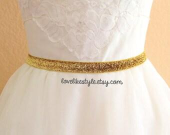 Skinny Gold Gltter Elastic Lace Belt, Bridal gold belt , Bridesmaid Gold Belt,Flower Girl Belt, Elastic Belt