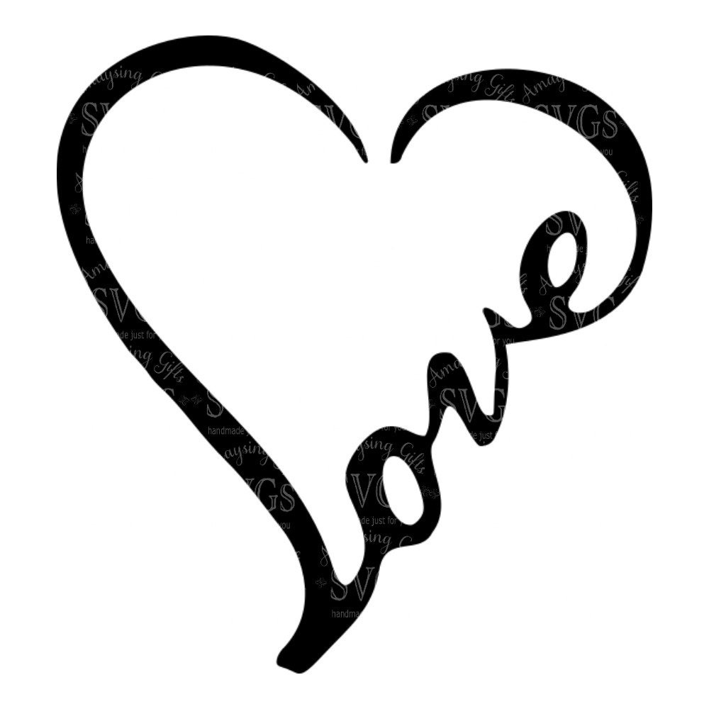 SVG - Love Word Heart - Love - Heart - Wordart - Love ...