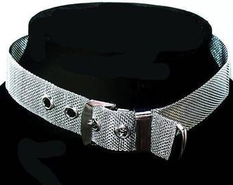 "Choker Belt & Buckle Necklace Silver Mesh Metallic Metal 15 1/2"" Vintage"