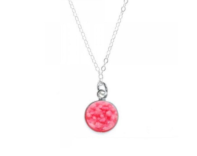12mm Bubblegum Pink Druzy Necklace