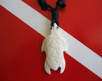 Sea Turtle Necklace, Hawaiian Honu, Hand Carved Bone Pendant, Adjustable cord out to 24""