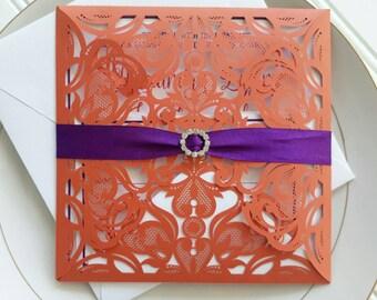 Orange and Purple Wedding Invitations. Laser Cut Wedding Invitation. Orange Wedding. Purple and Orange. Purple Wedding.  Rhinestone.