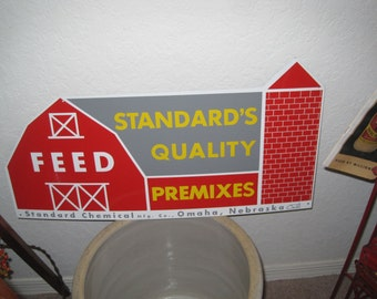 Vintage Metal Feed Sign - Standard Quality Premixes Advertising