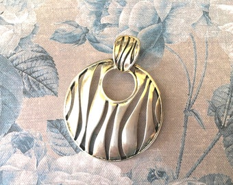 Large and Handsome Silver Toned Modernistic Pendant