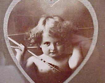 Darling Edwardian Era Framed Sepia Cupid Awake and Cupid Asleep Prints In Walnut Frame