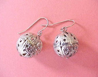 Pretty Vintage Dangling Earrings with Filigree Type Metal Ball Beads