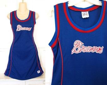 Vintage 90s athletic baseball jersey womens tank top dress size M sporty tunic mini