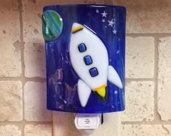 Nightlight Fused Glass Spaceship.