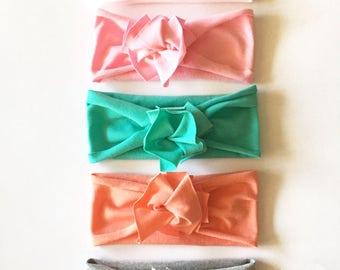 Favorite Five Bundle // Save on set of 5 // Flower Jersey Headband // Baby Girl Headband // Infant // Newborn // Adult // Floral :FLB