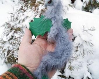 Gray Fur Holly  bracelet dragon poseable leather  art toy  OOAK.