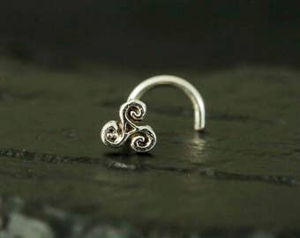 Mini Celtic Triskele  sterling silver nose stud / nose screw / nose ring