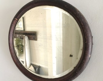 Vintage Beveled Mirror Oval Wood Frame