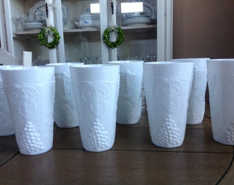 Set of 8 - Colony Harvest Grape by Indiana Vintage White Milk Glass Tumbler Cup