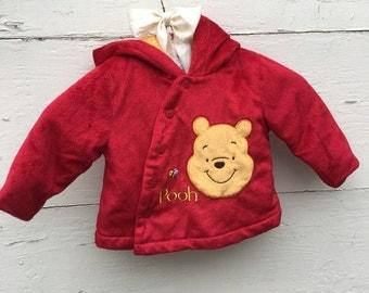 Vintage red Winnie the Pooh Jacket, red coat for baby girl, red hoodie jacket for baby girl (3-6 months)