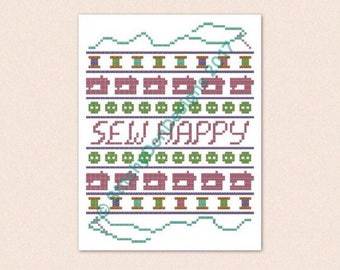 Sew Happy Cross Stitch Pattern PDF Download