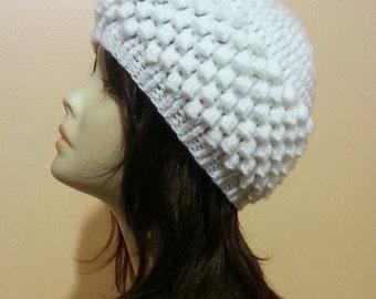 Crocheted Beanie Hat, Crochet Bobble Hat, Crochet Skullcap Beanie, Crochet Popcorn Hat, Bobble Hat. FREE UK DELIVERY