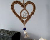 Handmade Positively Pagan Nautical Rope Pentacle Heart.  Sea witch charm . Home / Bathroom Decoration.