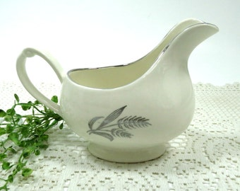 Crown Potteries 1950s Gravy Boat, Silver Wheat Pattern, Made in The USA, Mid Century Replacement China, Vintage China by TheSweetBasilShoppe