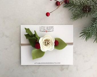 Holiday Bloom - Christmas Flower Headband or Hair Clip