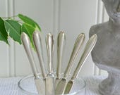 Fruit and cheese knives, vintage Swedish dessert flatware, small cutlery, tarnished silver plate