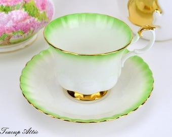 ON SALE Royal Albert Green Rainbow Teacup and Saucer, English Bone China Tea Cup Set, Wedding Gift, Wedding Shower,  ca. 1950