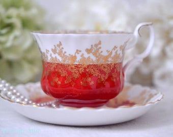 Royal Albert Red Regal Series Teacup and Saucer Set, English Bone China Red Tea Cup, ca. 1970