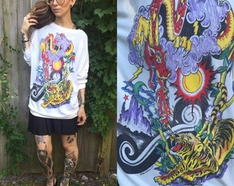 Vintage rare traditional tattoo sweatshirt 1980's small dragon tiger medium