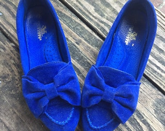 Vintage Blue Velvet Shoes size 9 rare bows stacked heel