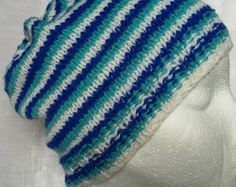 White, Blue and Turquoise Striped Shetland Wool Hat