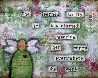 Inspirational Magnet. Empowering quote.  Uplifting quote. Kitchen magnet-office decor-Sentimental magnet-learned to fly-angel wings