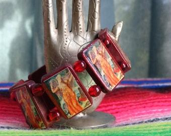 Ishtar Inanna Wooden Devotional Bracelet. Pagan Polytheist Devotional Jewelry.