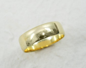 Classic wedding ring. 6mm wedding ring. Rounded wedding ring. 14k yellow gold wedding ring. Wide wedding ring.(gr-9293-1446)