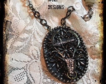 Deer, Steelcut, Necklace, Repurposed Antique Buckle,Arrow,pearls,crystals, Vintage buttons. Statement Necklace Created By: Kari Wolf Designs