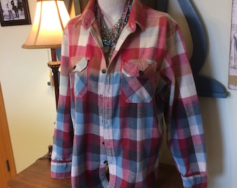 Bleach Dipped Flannel Shirt Adult XL Athletic Fit