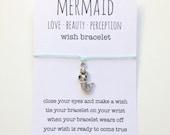 wish bracelet, inspirational bracelet, mermaid anklet, party favour, friendship bracelet, beach jewelry, mermaid jewelry, bridesmaid gift