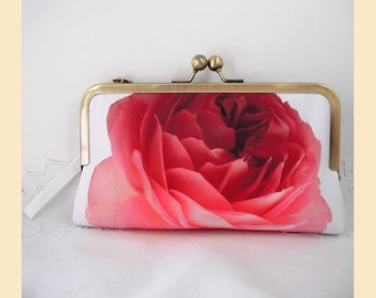Wedding clutch bag, wristlet, red rose, white, floral print, bridal purse, bridesmaids gift, personalised