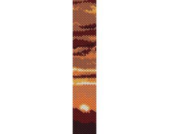 Sunset Peyote Bead Pattern, Bracelet Cuff Pattern, Bookmark Pattern, Seed Beading Pattern Miyuki Delica Size 11 Beads - PDF Instant Download