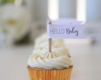 HELLO Baby / Cupcake Toppers / Baby Shower / 12 toppers / Gender Neutral