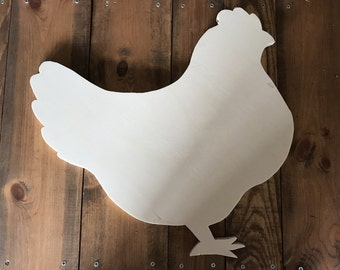 Chicken Farmhouse Wood Cutout, Naked, Unfinished