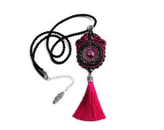 Soutache hand mde embridery statement pendant with Swarovski Scarab - bold and unusual - Fuchsia Scarabaeus