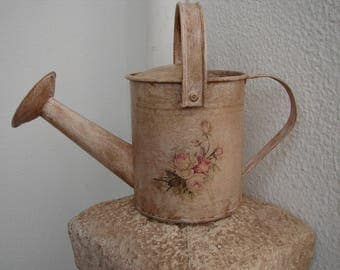 French pink painted,grungy watering can with shabby pink roses decoupage,fixed rose & carrying handle