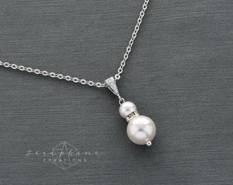 Pearl Necklace, Wedding Pearl Necklace, Wedding Jewelry, Bridal Pearl Necklace, Swarovski, Bridesmaid Gift, Bridesmaid Jewelry Laelia W14