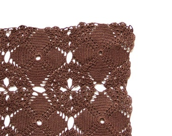 Square brown Crochet doily, vintage hand dyed Doily,  Table decor, crochet centerpiece, Cotton Lace Doily, recycled