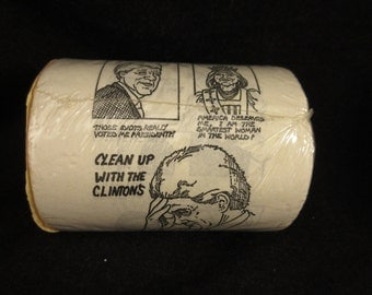 Vintage Clean Up With the Clintons Gag Joke Toilet Paper Roll
