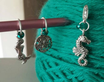 Beach Theme Knitting Stitch Markers-Set of 3-Progress Keeper*Knit Marker Set Fits to US10*Sand Dollar*Mermaid*Seahorse*Beach*Summer*Ocean