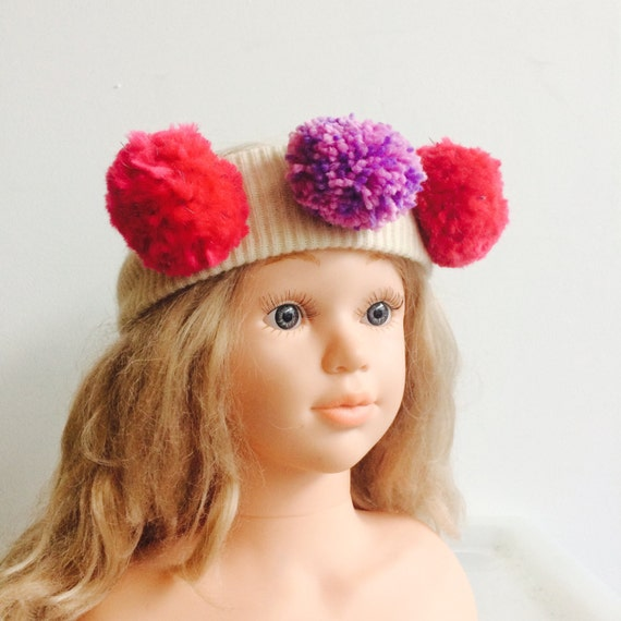 WARM4-7 Years Headband Kids Cashmere With Pom Poms in Upcycled Wool Unisex