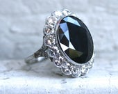 Large Vintage Platinum Diamond Halo and Sapphire Engagement Ring - 17.20ct.