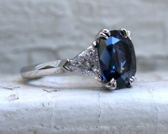 RESERVED - Classic Vintage Sapphire and Diamond Three Stone Ring in Platinum - 4.00ct.